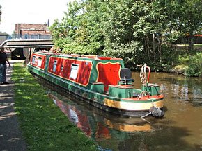 Live-aboard narrowboat at Cliffe Vale, Stoke-on-Trent