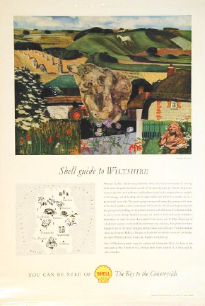 Original Shell poster advertising the availability of the Wiltshire Shell Guide from its garages