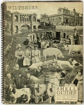 Cover of the Shell Guide to Wiltshire, surreal photomontage